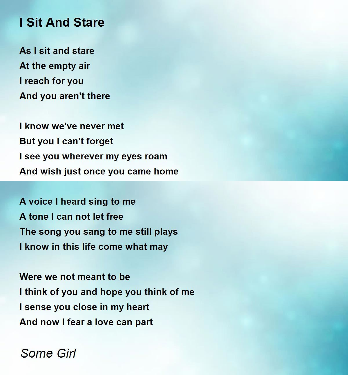 Never met wish i you poem i My Poems