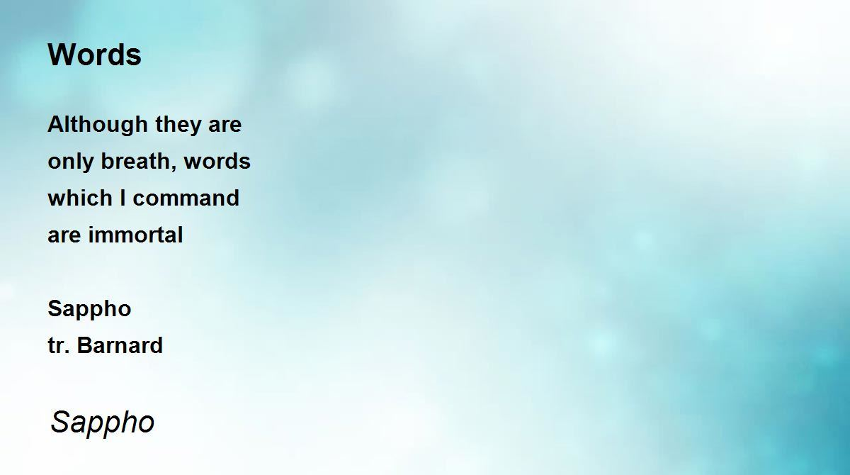 words poem by sappho