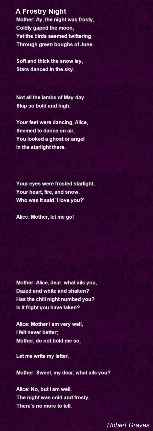 A Frosty Night Poem by Robert Graves - Poem Hunter