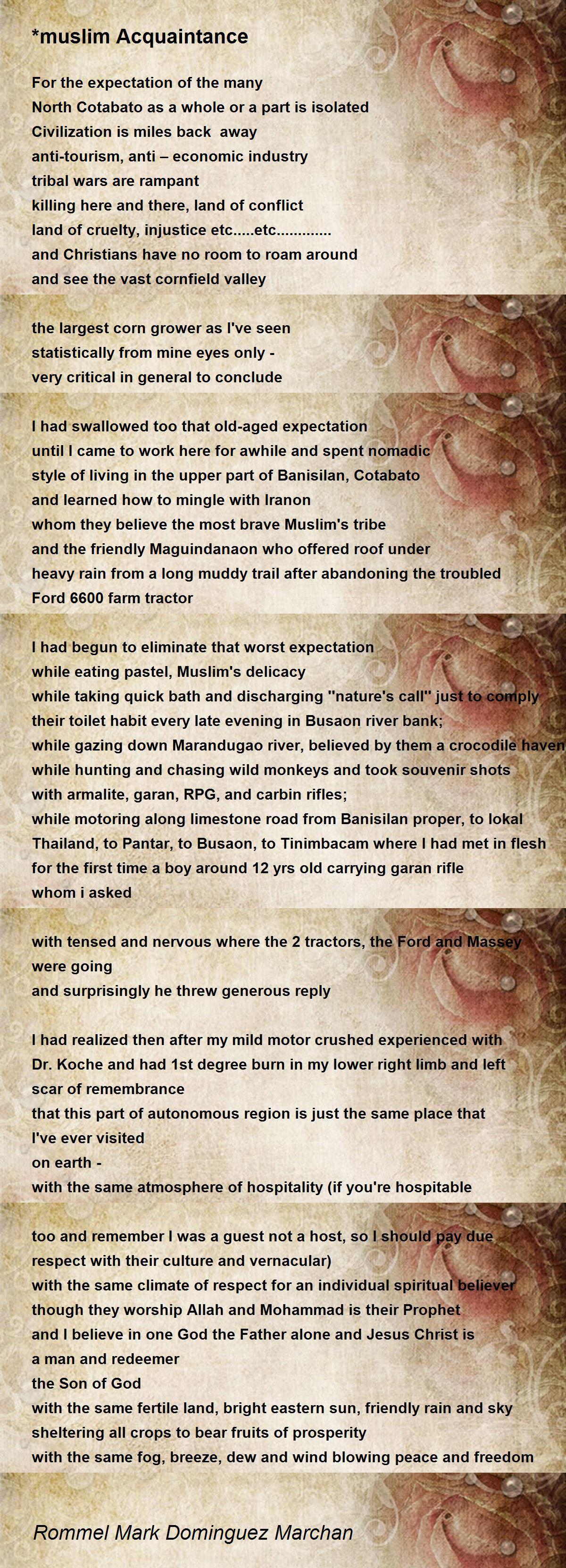 muslim Acquaintance Poem by Rommel Mark Dominguez Marchan - Poem Hunter